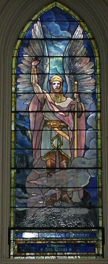 Gabriel, one of 11 Tiffany windows at Brown Memorial Church, Baltimore, MD