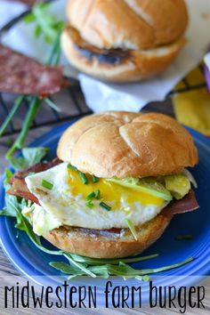 Packed full of fresh flavors, eggs & bacon, this Midwestern Farm Burger is a delicious way to get your morning off to a great start! #burgertour #ad