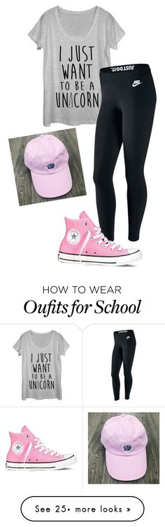 """""""School uniform"""" by nikkidoolittle on Polyvore featuring Fifth Sun, NIKE and Converse"""