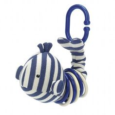 Clicketty Walter Whale makes crinkly sound & clips to stroller, car seat, diaper bag, wherever. I've clipped it to outside of baby shower presents on ribbon - big hit!