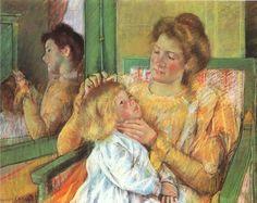Mother Combing Her Child's Hair by Mary Cassatt #art