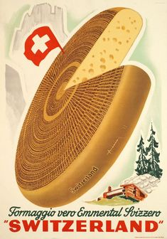"""Anonymous / 1948    Formaggio vero Emmental Svizzero """"Switzerland""""      Small size poster for the Swiss Emmental cheese, printed in stone-lithography    CodeN+0542  ArtistAnonymous  TitleFormaggio vero Emmental Svizzero """"Switzerland""""  CountrySwitzerland  Technique of printingstone lithograph  Year of printing1948 circa  Dimensions50 x 70 cm / 20 x 28 inch  PrinterPrinted in Switzerland  ConditionA+  ValueFrom 500 to 850 CHF"""