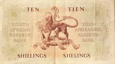 Ten Shillings note Back of note South Africa