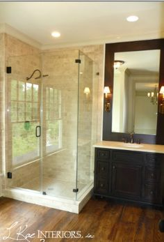 """Look at this wide plank!  I would put engineered in the bath if you are set on """"wood"""" rather than a stone/tile/hard surface.  Engineered floors offer no shrinking/expansion during climate times (dry/humidity/etc).  We are in KS/CO, the floors are fantastic.  I love reclaimed but will not buy them again because of the price & maintenance. The engineered, unless you look really close or know, is a great product alternative that comes in all sizes, distress stages, colors and woods."""