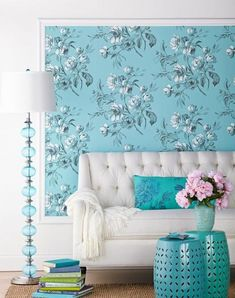 For a new take on decorating with wall coverings, frame large-scale colorful and beautiful floral designs with molding to create a headboard or work of art. Diy Wand, Interior Decorating, Interior Design, Decorating Ideas, Summer Decorating, Leather Club Chairs, Calming Colors, Bohemian Interior, Floral Pillows