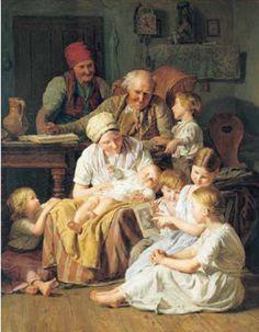 <행복한 가족 (The Happy Family)>   페르디난드 조지 와드물러 (Ferdinand Georg Waldmuller) 이 그림은 가족이 모두 함께 둘러 앉아 이야기도 나누고, 책도 읽는 모습을 그렸다. 하지만 자세히 보면 이 그림의 중심은 새로 태어난 아기인듯하다, 어른들의 시선이 모두 아기에게로 향하고있으며, 아기가 사랑스러워 눈을 떼지 못하고 있다. 새로운 식구의 탄생에 기쁨을 감추지 못하는 한 가정의 아름다운 모습을 잘 표현한 그림이다.