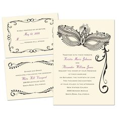 Masked Mystique 3 for 1 Wedding Invitation - Ecru | Cheap Invites at Invitations By Dawn