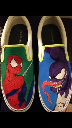 Hand painted custom Spider-Man Venom canvas shoes. Adults  amp  children s  sizes 27f6f36e8