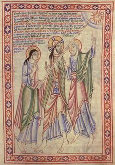 TheSt. Albans Psalter.  Detail of page 69, depicting Christ on the road to Emmaus.