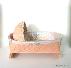 1940s Pink Wicker Doll Rocking Cradle