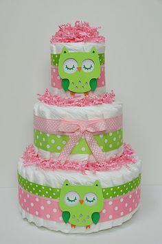 Pink and Green Owl Diaper Cake Would make a wonderful gift for new baby or stunning centerpiece for a baby shower. Something any Mother would
