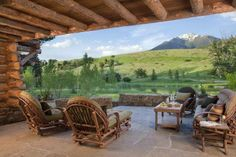 What a view! More rustic wood, stone and that organic feel of balance with the natural world surrounding Cozy Cove.