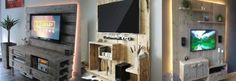 Heb jij de televisie aan de muur hangen? Combineer dit met pallet of steigerhout voor een geweldig effect!