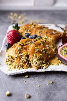Lemon Ricotta Stuffed Syrian Pancakes with Lavender Passionfruit Syrup   halfbakedharvest.com @hbharvest
