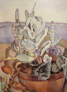 Still Life with Plants -  Rita Angus - watercolor -  History of the Academy | New Zealand Academy of Fine Arts