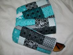 Turquoise quilted eyeglass case white black by ExpressionQuilts, $5.99