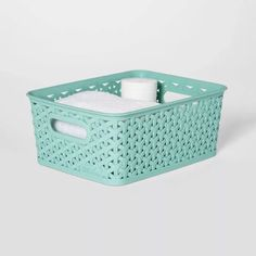x Y-Weave Small Storage Bin - Room Essentials™ Decorative Storage Bins, Plastic Storage Totes, Storage Tubs, Plastic Bins, Tote Storage, Small Storage, Storage Baskets, Black Rooms, Green Rooms