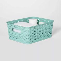 x Y-Weave Small Storage Bin - Room Essentials™ Plastic Storage Totes, Decorative Storage Bins, Tote Storage, Small Storage, Storage Baskets, Home Management Binder, Plastic Baskets, Room Essentials, Home Organization