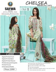 Safwa Brand - Price PKR2399.00 only - Free Delivery! - Cash on Delivery - 30 Days Returns - CA-008 - CHELSEA COLLECTION - 3 PIECE SUIT  #clothing #digital #dresses #shalwarkameez #safwa #onlineshopping #ladiesclothing #shoponline #pakistani #brand