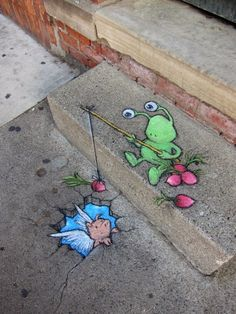 So creative and cute! Street art is the best. Street art by David Zinn 3d Street Art, Street Art Utopia, Amazing Street Art, Street Art Graffiti, Amazing Art, Graffiti Artists, Awesome, David Zinn, Art Du Monde