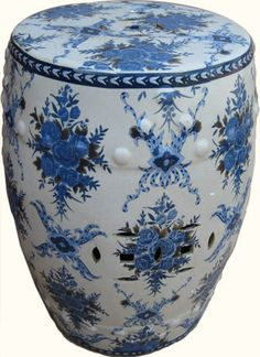 Buy Oriental Porcelain Garden Stool with Blue and White Flowers online and save over retail stores. Asian Garden, Chinese Garden, Blue Garden, White Chrysanthemum, Ceramic Garden Stools, Blue And White China, Himmelblau, Duck Egg Blue, Flowers Online