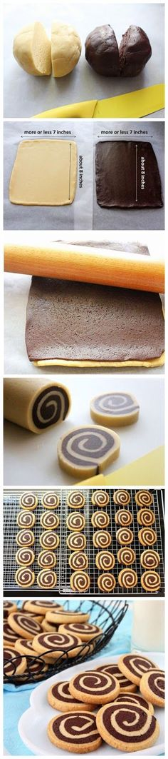 Chocolate Pinwheel Cookies-Ingredients: 1 cup butter 1 cup sugar 2 egg yolks 4 teaspoons vanilla 2 tablespoons milk 3 cups flour 1 tablespoon baking powder 6 tablespoons cocoa mixed with 2 tablespoons melted butter and 2 tablespoons milk. Bake at 163°C for 15 to 20 minutes