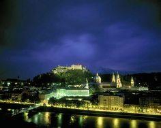 Salzburg Castle and Fortress at twilight, Salzburg, Austria