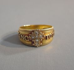 """Victorian 18K gold """"I Cling to Thee"""" ring with diamonds.  Oh, wish I could have this.  $ 998 4/19/12"""