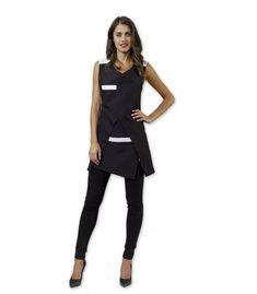 Estola desigual de mujer con cuello pico de color blanco y negro y con un cómodo cierre con nudo trasero y delantero.
