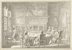 Simon Fokke   Zittingneming van Willem V in de W.I.C., bij zijn bezoek aan Amsterdam in 1768, Simon Fokke, 1771   Ontwerp voor een prent.