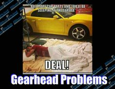 #blueprintengines #gearheadproblems #sleepingingarage #carparts