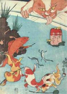APPEARANCE OF CAT AFTER 100's GHOST STORY  KUNIYOSHI UTAGAWA  1798-1861  Last of Edo Period