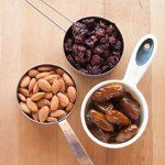 1 part nuts : 1 part dried fruit : 1 part dates--3 ingredient energy bars
