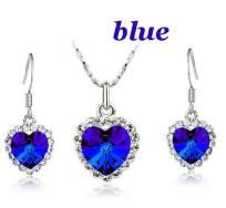 Austrian Crystal 18K white gold GP ocean heart set Pendant and earrings - FREE SHIP$19.99 click picture shop