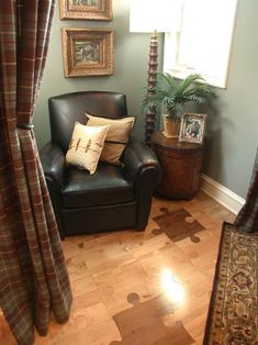 Cool puzzle floor and cozy space for a den!