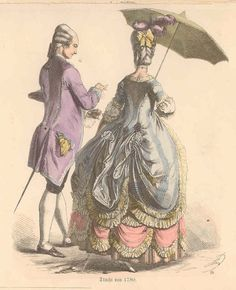A French fashion Plate from 1780's featuring what appears to be a true polonaise.