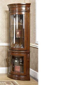 corner wall mounted glass display cabinet