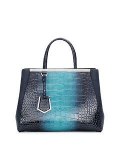 Fendi 2Jours Alligator Shopping Tote Bag, Navy.  28,000.00 Shopping Totes,  Halle, Crocodile cb8ae1c956d