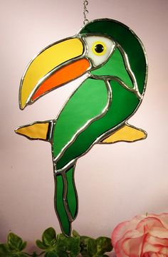 Stained Glass Toucan Bird 446 by StainedGlassbyWalter on Etsy