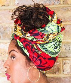 Involucro capo africano Green Red Print  Involucro di