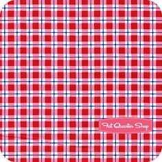 Nursery Fabric: Fatquartershop.com - Pam Kitty Morning for Lakehouse Dry Goods - Red Plaid SKU# LH11012-RED $10.75