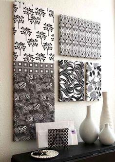 use fabric over cardboard to create super cheap wall art