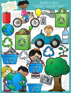 The Earth Day clip art set contains 38 image files, which includes 20 color images and 18 black & white images in png and jpg. All images are 300dpi for better scaling and printing. $