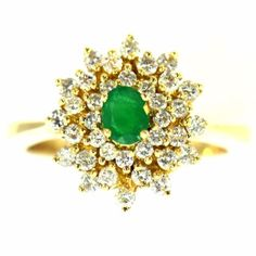 89-CT-COLOMBIAN-EMERALD-amp-DIAMOND-RING-14K-YELLOW-GOLD-NATURAL-GREAT-MOUNTING