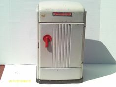 antique tin toy kitchen refrigerator from the 1940's