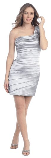 Silver Fitted One Shoulder Mini Cocktail Dress