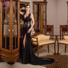 robe de soiree Sexy Side Slit Elegant Black Lace Evening Dress 2016 Abendkleider V-Neck Prom Dresses Long Evening Gowns
