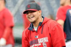 Yadier Molina warms up before the game against the Washington Nationals on 4-18-14
