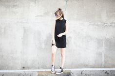 Forever 21 Funnel Neck Swing Dress, Converse Leather High Top. That hair too...
