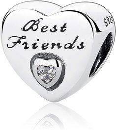 52ac82d829ec Abalorio de plata de ley 925 con diseño de corazón de la amistad